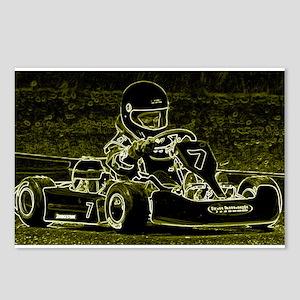 Kart Racer in black, white, and light green Postca