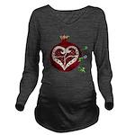 Pomegranate Heart Long Sleeve Maternity T-Shirt