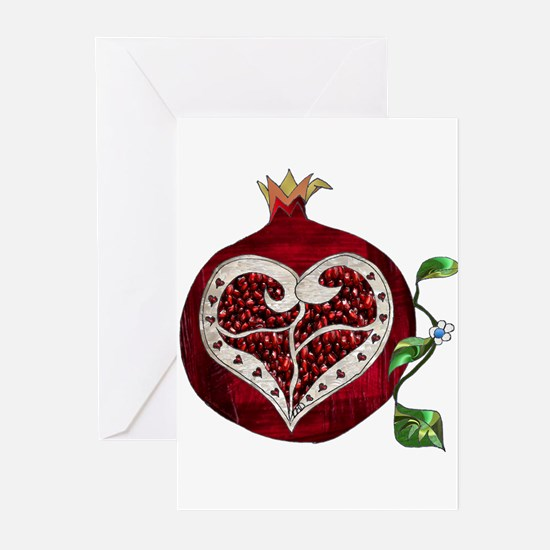 Pomegranate Heart Greeting Cards