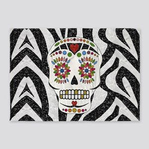 Sugar Skull on Zebra Print 5'x7'Area Rug