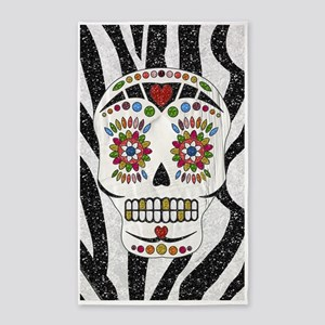 Sugar Skull on Zebra Print 3'x5' Area Rug