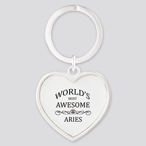 World's Most Awesome Aries Heart Keychain