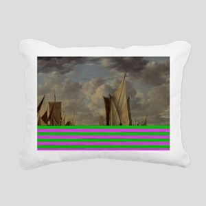 Painting of Ships at sea Rectangular Canvas Pillow