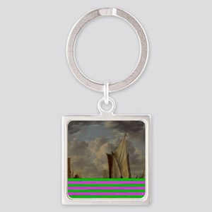 Painting of Ships at sea Square Keychain