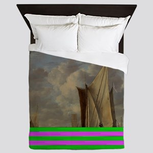 Painting of Ships at sea Queen Duvet