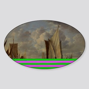Painting of Ships at sea Sticker (Oval)