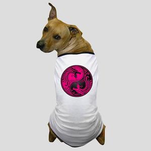 Pink and Black Yin Yang Dragons Dog T-Shirt