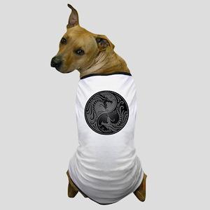 Grey and Black Yin Yang Dragons Dog T-Shirt