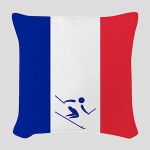 Team Alpine Skiing France Woven Throw Pillow