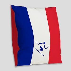 Team Alpine Skiing France Burlap Throw Pillow