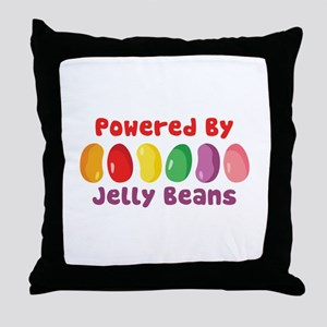 Powered By Jelly Beans Throw Pillow