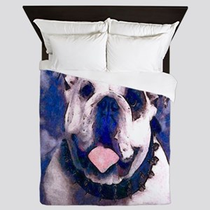 White Bulldog Queen Duvet