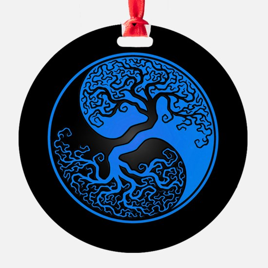 Blue Yin Yang Tree with Black Back Ornament