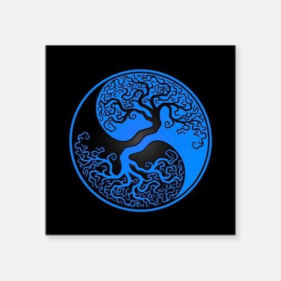 Blue Yin Yang Tree with Black Back Sticker