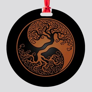 Brown Yin Yang Tree with Black Back Round Ornament