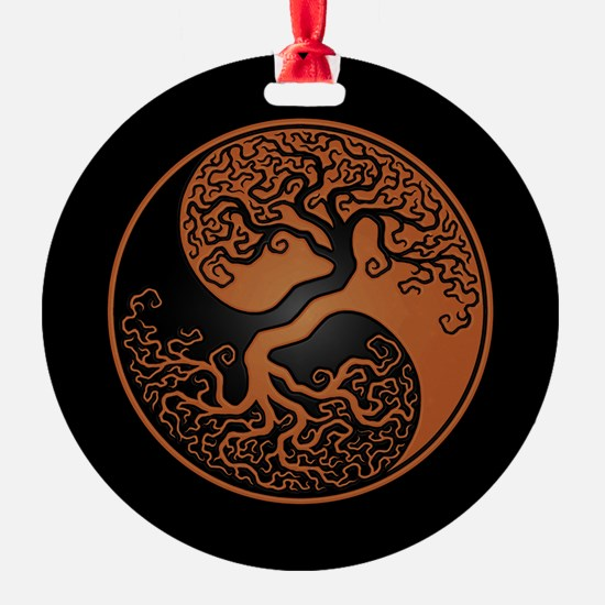 Brown Yin Yang Tree with Black Back Ornament