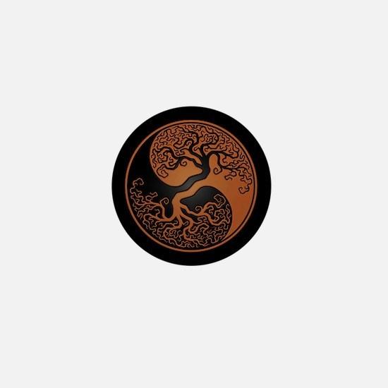 Brown Yin Yang Tree with Black Back Mini Button