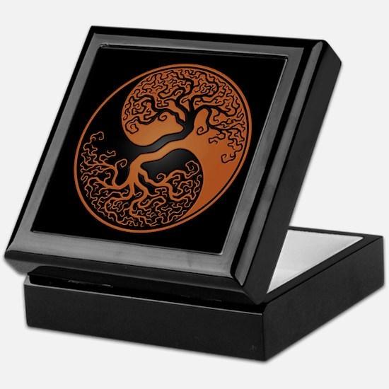 Brown Yin Yang Tree with Black Back Keepsake Box