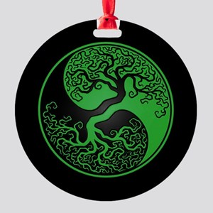 Green Yin Yang Tree with Black Back Round Ornament