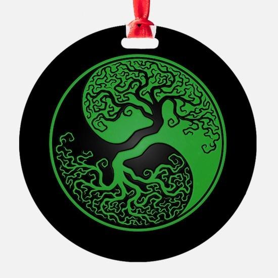 Green Yin Yang Tree with Black Back Ornament