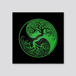 Green Yin Yang Tree with Black Back Sticker