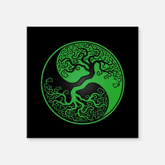 Green Yin Yang Tree with Black Back Sticker