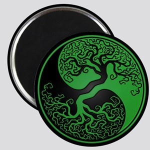 Green Yin Yang Tree with Black Back Magnets