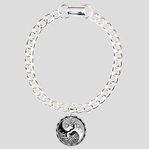 White Yin Yang Tree With Black Back Charm Bracelet