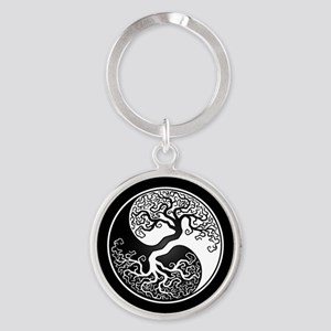 White Yin Yang Tree with Black Back Keychains