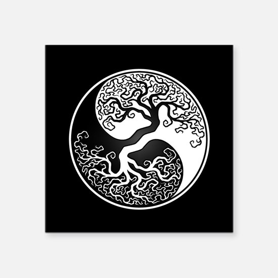 White Yin Yang Tree with Black Back Sticker