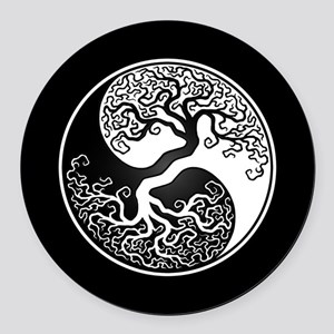 White Yin Yang Tree with Black Back Round Car Magn