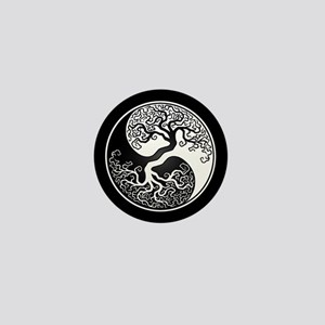 White Yin Yang Tree with Black Back Mini Button