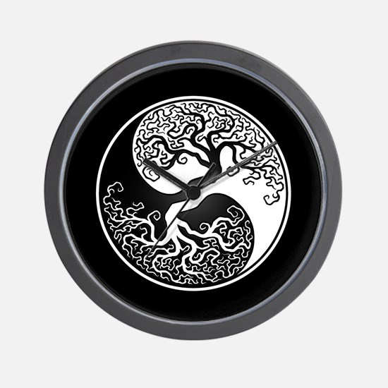 White Yin Yang Tree with Black Back Wall Clock