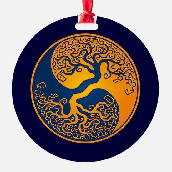 Yellow and Blue Yin Yang Tree Ornament