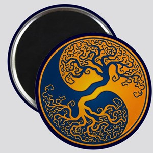 Yellow and Blue Yin Yang Tree Magnets