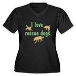 I Love Rescue Dogs Women's Plus Size V-Neck Dark T