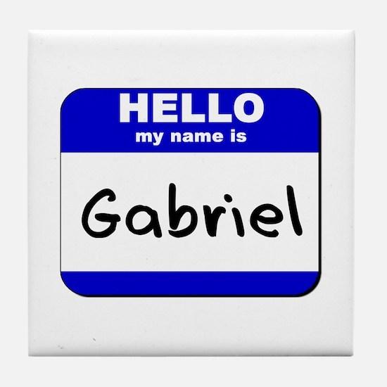 hello my name is gabriel  Tile Coaster