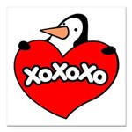 Penguin Lover Square Car Magnet 3