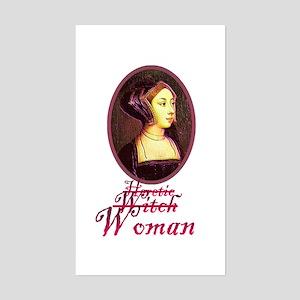 Anne Boleyn - Heretic/Witch/W Sticker (Rectangular