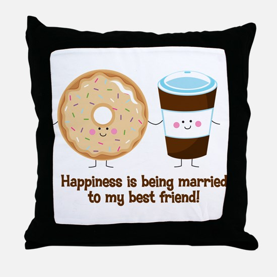 Coffee and Donut Married BF Throw Pillow