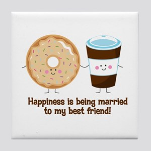 Coffee and Donut Married BF Tile Coaster