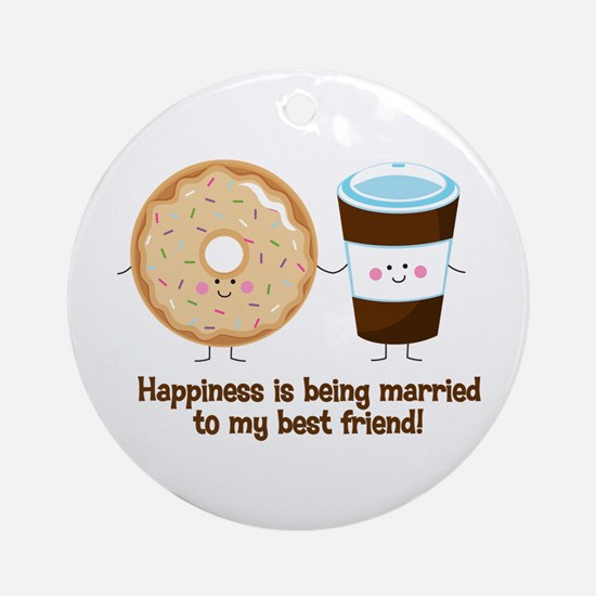 Coffee and Donut Married BF Ornament (Round)