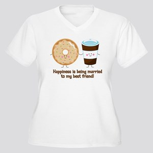 Coffee and Donut Married BF Women's Plus Size V-Ne