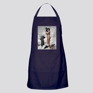 Beautiful, Busty Nude Woman Outdoors  Apron (dark)