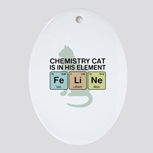 Chemistry Cat Ornament (Oval)
