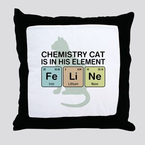 Chemistry Cat Throw Pillow