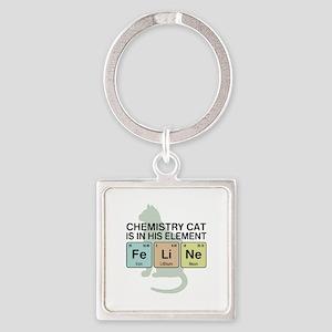 Chemistry Cat Square Keychain