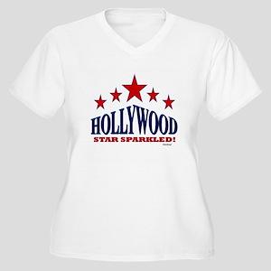 Hollywood Star Sparkled Women's Plus Size V-Neck T