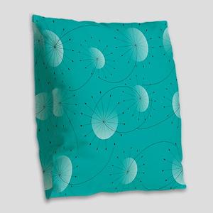 Dandelion Clocks Burlap Throw Pillow