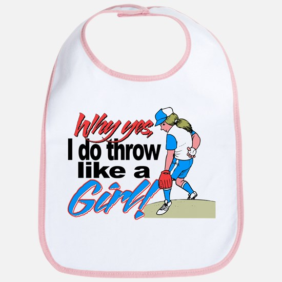 Softball Throw Like a Girl Bib